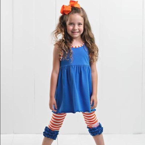 Ruffle Girl Other - Ruffle Girl Blue & Orange Ruffle Legging Capri Set